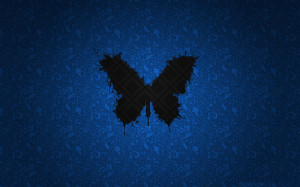 Black-Butterfly-In-Blue-Abstract-Background-1680x1050
